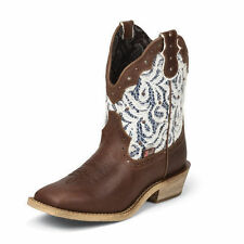 Justin Gypsy Brown Lux Buffalo Ladies Western Boots - brown/white - #9851