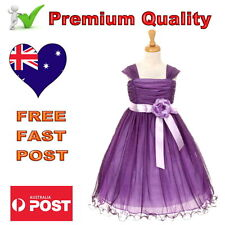 Special Occasion Purple & Lilac Mesh Girls Dress Wedding Flower Girl Dress 1To14