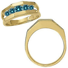1 Carat Blue Diamond Channel Design Mens Man Wedding Band Ring 14K Yellow Gold