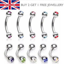 316L Surgical Steel Double Crystal Gem Jewelled Eyebrow Curved Bar - UK SELLER
