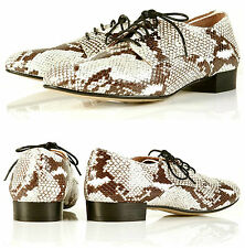 TOPSHOP SNAKE SKIN PRINT LEATHER LACE UP BROGUES  4 37 6.5  NEW