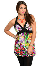 New Cute Ladies Floral Print Plus Size Fashion Halter Top - Purple