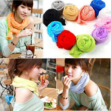 Women & Girls Fashion Candy Colors Soft Chiffon Shawl Scarf Wrap Headband Shawl