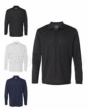 ADIDAS GOLF Mens Size S-2XL CLIMALITE POLY WICK LONG Sleeve Polo Sport Shirt