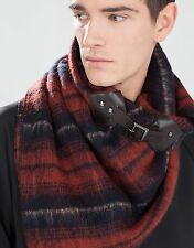 ZARA MAN PATTERNED SCARF WITH FAUX LEATHER BUCKLE REF: 0049/306
