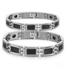 Stainless Steel Magnetic Therapy Power Germanium Couples Link Bracelet Wristband