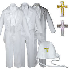 New Baby Toddler Boys Easter Christening Baptism Tuxedo Suits w/ White Cross Hat