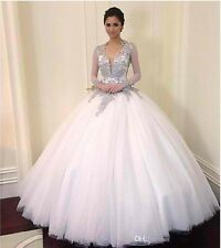 Style 2016 Long sleeve Ball gown Wedding Dresses Backless Bridal Gown custom
