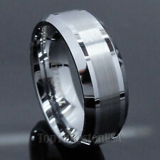 Men's Tungsten Carbide Ring Brushed Beveled Wedding/Anniversary Band Sz 6-14 8mm