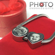 Personalised Photo Engraved Heart Charm - Stainless Steel Valentines Gift