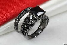 Bridal Princess Black Black 925 Silver Ladies Gothic Engagement Wedding Ring Set