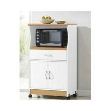 Microwave Carts Storage Stand Hutch Rolling Cabinet Drawer White Beech Cherry