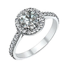1.15 Carat GH Round Diamond Halo Solitaire Engagement Bridal Ring 14K White Gold
