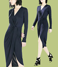 *ZARA*Navy Jersey Knotted Long Sleeve Wrap Style Midi Casual Formal Dress M/L