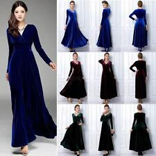 New Chic 2015 Velvet V Neck Maxi Evening women sexy evening club party dress C67