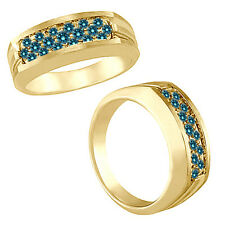 0.5 Carat Blue Diamond Designer Channel Men's Wedding Band Ring 14K Yellow Gold