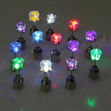 1/2/10Pcs Unisex LED Glowing Light Up Blinking Ear Stud Earrings Club Party