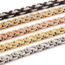 """8-36"""" Stainless Steel Mens Flat Link 11mm Byzantine Chain Necklace Bracelet"""