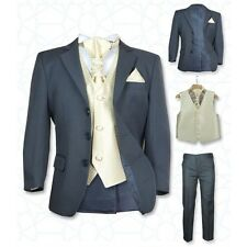 SIRRI Page Boys Formal Grey Gold Wedding Suit, 5PC Boys Grey Suit Age 1 to 15