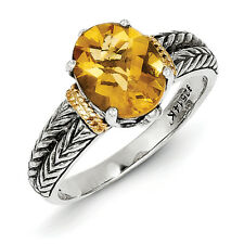 Citrine Ring 2 Row Band .925 Silver w/ 14K Gold Accent Size 6 - 8 Shey Couture