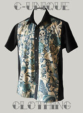 Mens Contigo Mexican Dead Skull Skeleton Tattoo lounge diner shirt Rockabilly