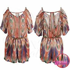WOMENS NEW CHIFFON BATWING PRINTED TOP LADIES BELTED KIMONO SHORTS PLAYSUIT
