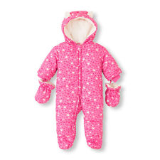 New Childrens Place Baby Girl Winter Ski Heart Snowsuit Size 3-6 Months Pink