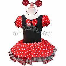 Girls Kids Minnie Mouse Party Costume Polka Dots Ballet Tutu Dress+Ear Size 1-10