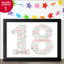 18th Birthday Gift Personalised Son Daughter Present Word Art Gift Keepsake