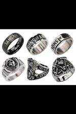 SONS OF ANARCHY SPINNER SAMCRO LOGO REAPER And BLACK RINGS NEW WITH GIFT BOX
