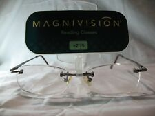 Magnivision Jamie Rimless Reading Glasses w/ Brown Temples +1.00 1.25 2.00 2.75