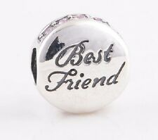 Sterling Silver .925 European Charm Love My Best Friend Forever Disk Bead 88629