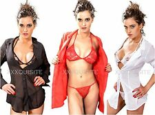 Sexy Womens Sheer Lingerie Shirt Bra G String Nightwear Underwear 3pcs Set