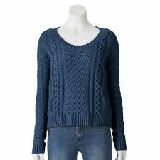 LC LAUREN CONRAD BLUE CABLE-KNIT CROP SWEATER SIZE S,M,XL;NWT