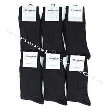 6,12  Pairs Lot Men's Dress Socks Solid Black Colors Crew Knocker Size 10-13