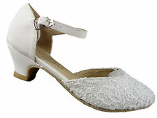 Girls Ivory Low Kitten Heel Lace Wedding Bridesmaid Confirmation Party Shoes