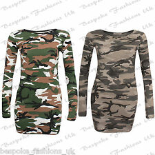Women's Ladies Grey Camouflage Long Sleeve Bodycon Tunic Mini Dress Sizes 8-22