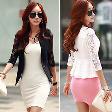 New Lace Womens Slim Casual 1/2 Sleeve OL Blazer Suit Jacket Outerwear Coat Tops