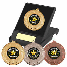 School Medals in Box, Star Pupil Medals, Star Award, Academic, Monitor Trophy