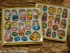 Gisela Graham Set 18 Mini Pastel Wooden Easter Tree Decorations Bunny Chick Eggs