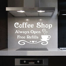 Vinyl Wall Lettering Coffee Shop Always Open Free Refills Cup Kitchen Quote