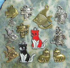 Cat - Fish - Dog Charms, Tibet Silver Gold Bronze Zinc Alloy Pewter - 4 Day USA