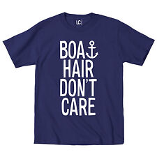 Boat Hair Don't Care Anchor Nautical Vacation Beach Yacht Boating - Mens T-Shirt