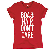 Boat Hair Don't Care Anchor Nautical Vacation Beach Yacht Boating Womens T-Shirt