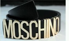 New Authentic Wild fashion Moschino Belt With Gold Letters 80sVGCDustBag&Box