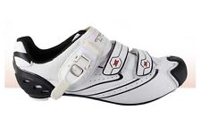 TKX WHITE ROAD BIKE CYCLING SHOES (Look Shimano Compatibility) Microlock Closure