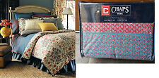 $170 CHAPS RALPH LAUREN MOROCCO 4PC Queen or King Sheet Set Red-Country Blue NEW