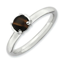 Cabochon Tigers Eye Ring .925 Sterling Silver Size 5-10 Stackable Expressions