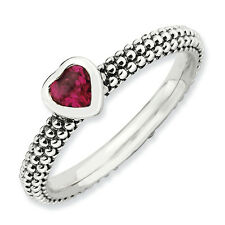 Created Ruby Heart Ring .925 Sterling Silver Size 5-10 Stackable Expressions