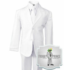 Formal Boys Kids White Suit Tuxedo with Tie Complete Set Size Small - 20